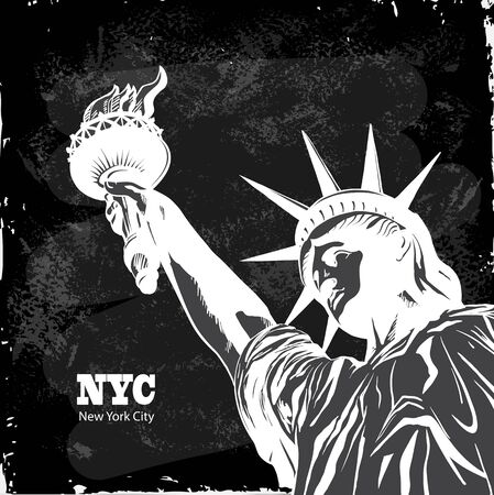 NY. New York city with the statue of liberty for a background poster, advertising, layout, banner.