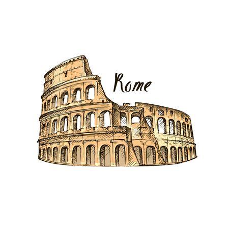 Kolosseum in Rom auf weißem Hintergrund. Italien Wahrzeichen Architektur. Vektorgrafik
