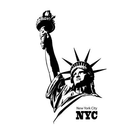 Amerikanisches Symbol - Freiheitsstatue. New York, USA Vektorgrafik