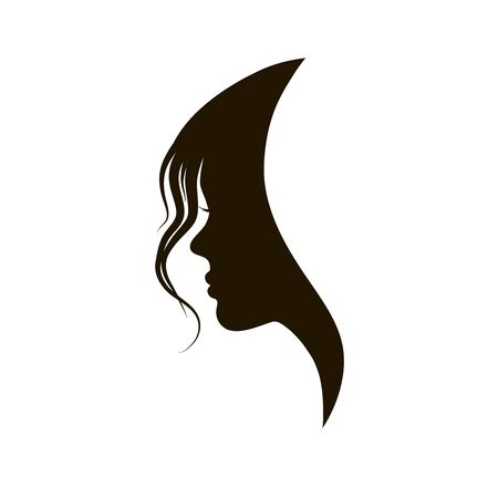 beautiful girl silhouette with stylish hairstyle, beauty illustration 向量圖像