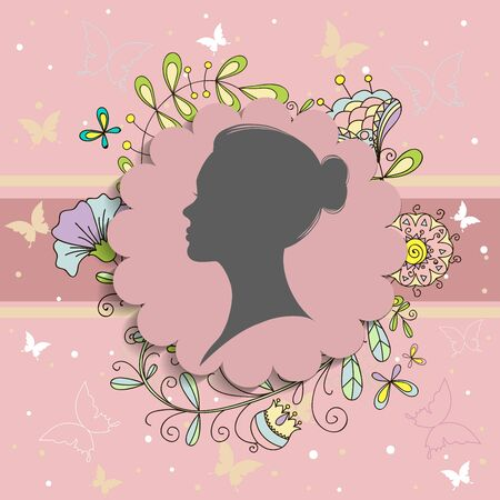 silhouette of a women on pink background for Happy Women s Day.