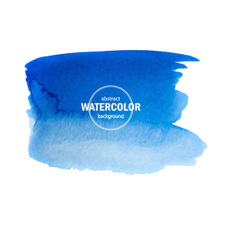 Blue watercolor blot spread to the white background. Abstract vector composition for the modern design, watercolors texture, brush strokes Ilustração Vetorial