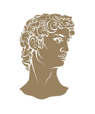 Antique statue head illustration. Work of art of the era of excitement. Hand drawing illustration of David's head. Period of Renaissance. Sculpture of Michelangelo.