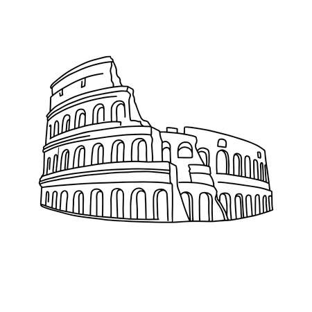 Doodle coliseum isolaten on white. Outline icon. Hand drawing line art. Tourism symbol. Sketch vector stock illustration.