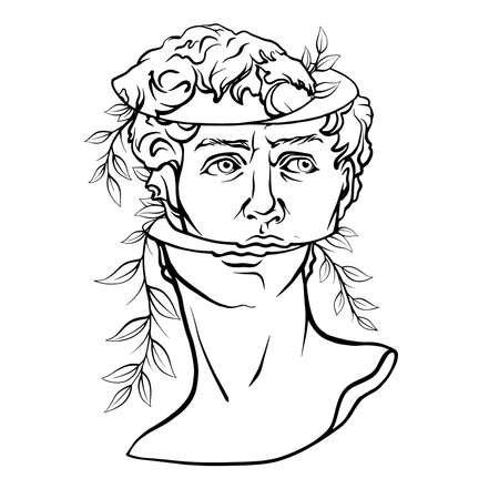 Antique statue head illustration. Work of art of the era of excitement. Hand drawing illustration of David s head. Period of Renaissance. Sculpture of Michelangelo. Vektorové ilustrace