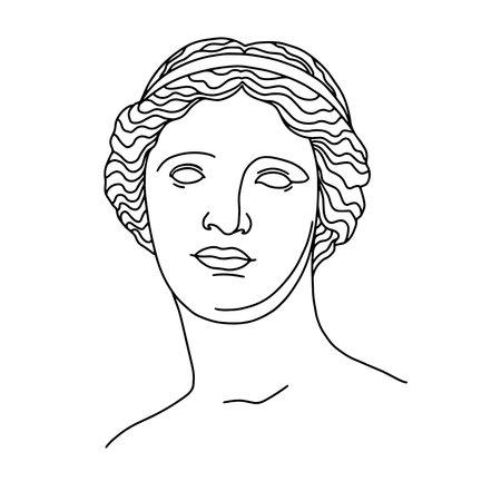 Antique statue classical sculpture Venus. Hand drawing illustration of Aphrodite s head. T-Shirt Design Printing, clothes, bags, posters, invitations, cards, leaflets etc. Line art Vektoros illusztráció