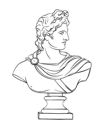 Apollo vector classical antique plaster sculpture. Antiquity head of a Greek god. Hand drawn sketch illustration in line style. Trendy vector print, bust in vintage style on white background. Vector Illustration