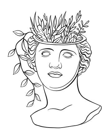Trendy vector print with a statue of the head of Aphrodite Venus, new retro. Line drawing and floral elements. Sculpture of an ancient classical Greek god. Roman antique sculpture. Contemporary linear art Vettoriali
