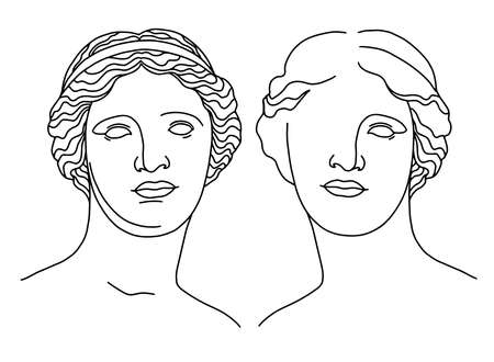 Classical sculpture. Vector hand drawn illustration of Aphrodite, statue of the head of Venus de Milo in front, line art