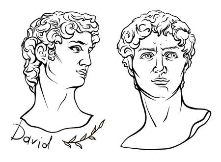 The mythological hero of ancient Greece. Hand-drawn beautiful vector artwork isolated. Myths and legends. David face of Michelangelo s sculpture the biblical hero David vintage line drawing