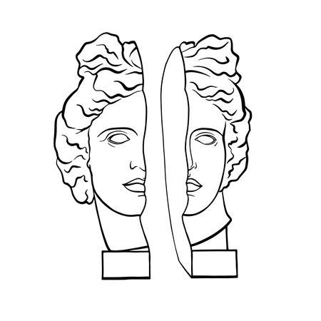 Vector illustration of statue of Greek god, Apollo