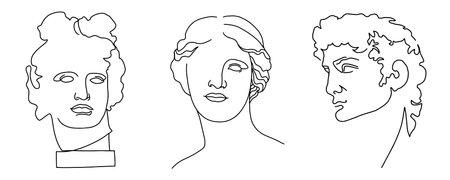 set of ancient antique sculpture. Venus, Aphrodite, David, Apollo statue head, vintage black and white illustration, creative drawing  イラスト・ベクター素材