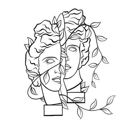 Apollo of Belvedere - Greek - Roman sculpture, head, vintage black and white illustration, creative drawing with plant elements