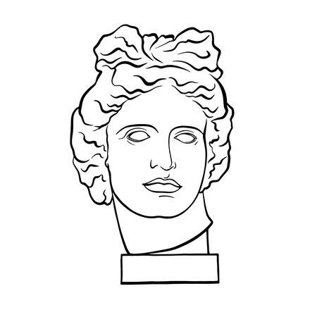 Apollo Belvedere - Greek - Roman sculpture, head, vintage linear black and white illustration