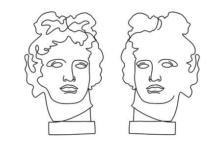 Apollo Belvedere - Greek - Roman sculpture, head, vintage black and white illustration line art  イラスト・ベクター素材