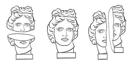 Set collection. Different plaster heads Apollo statue. Hand drawn style print. Vector creative illustration.