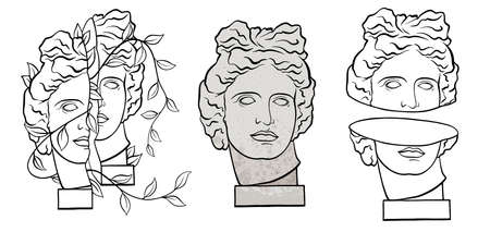 Sculpture of the mythological hero of the god of Ancient Greece. Black and white illustration of a classic Apollo bust and head. Unique artwork, line art
