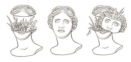 Trendy vector print with a statue of the head of Aphrodite Venus, new retro. Line drawing and floral elements. Sculpture of an ancient classical Greek god. Roman antique sculpture. Contemporary linear art Illustration