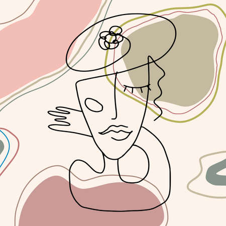 line drawing abstract face. Cubism, surrealism, contemporary art. Modern trendy elements isolated on white background. Hand drawn vector illustration of women