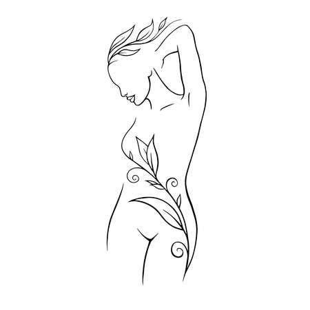 Portrait minimalist. Modern fashion linear female. Beautiful women in minimal line style for logo, emblem template. Modern print. .Beauty salon