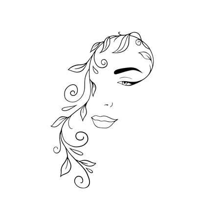Portrait minimalist. Modern fashion linear female face. Beautiful women in minimal line style for logo, emblem template. Modern print. .Beauty salon