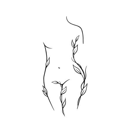 Outline of a young girl. Stylized slim body, frost art, black and white vector illustration. The contour of a slender figure. Female figure front view