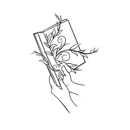 hands hold a book. Sketch linear art black and white