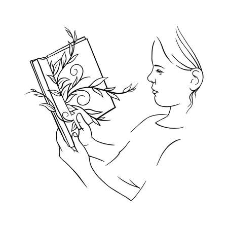 girl reading a book, linear art black and white