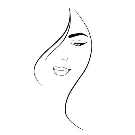 Portrait minimalist. Modern fashion linear female face. Beautiful women in minimal line style