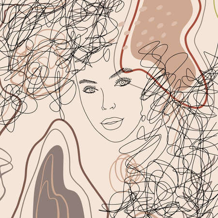 Abstract woman portrait in modern linear minimalistic style. Hand drawn faces, artwork on a trendy background. Fashion vector Illustration