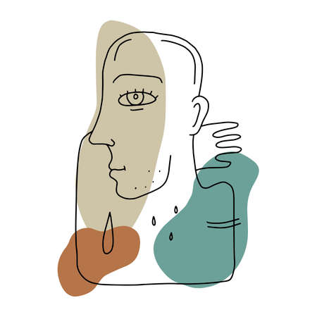 line drawing abstract face. Cubism, surrealism, contemporary art. Modern trendy elements isolated on white background. Hand drawn vector illustration of a man Illustration