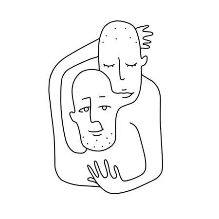 stylized pair portrait of two girls in a minimalist style, the silhouette of female faces drawn in one continuous line, lovers of a gay, couple of friends
