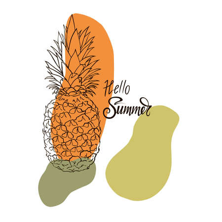 Image of pineapple fruit and lettering exotic on white background with watercolor stains. Print t-shirt, graphic element for your design. Vector illustration.