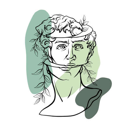underground bust of David in the style of abstract art. Antique antique sculpture of the masterpiece of David by Michelangelo is framed in grunge style vector graphics, classical renaissance.