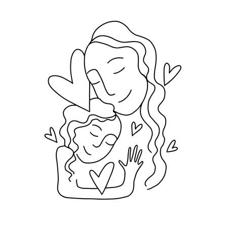 Mother with child. Line art icon, sign. Isolated vector illustration.