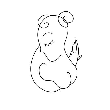 Painting one line young woman or girl portrait face, beauty single icon, simple fashion continuous hand drawing art. Female carton figure isolated on white background. Illustration