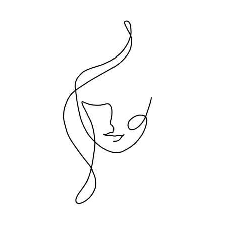 Portrait minimalist. Modern fashion linear female face. Beautiful women in minimal line style for emblem template. Modern print. .Beauty salon