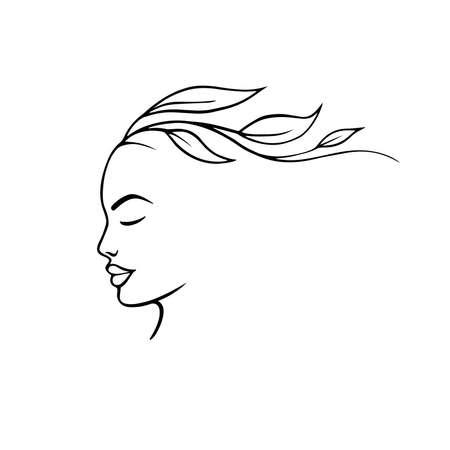 Portrait minimalist. Modern fashion linear female face. Beautiful women in minimal line style for  emblem template. Modern print. .Beauty salon Illustration