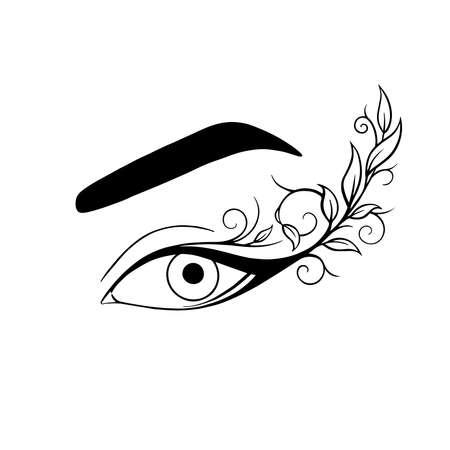 beautiful female eye eyelashes and eyebrow Illustration