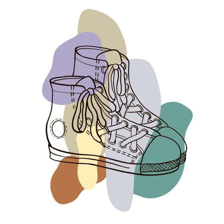 Sketch sneakers, vector illustration. Illustration