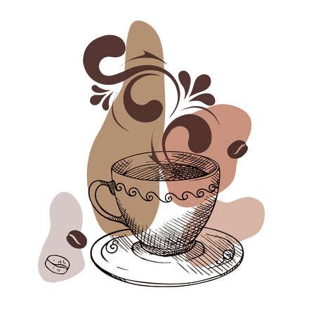 Cup mug of hot drink coffee, tea etc Illustration