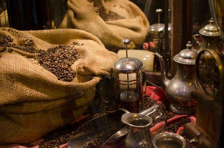 フェア トレード コーヒー市場 bean の袋に 写真素材 - 47313775