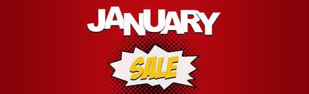january: Descuentos en enero de navidad bandera del Web ahorro de temporada