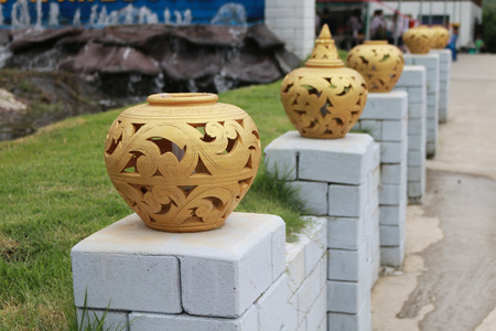 apparent: Thai pattern lamps are decor on the poles.The art is common apparent in Thailand. Stock Photo