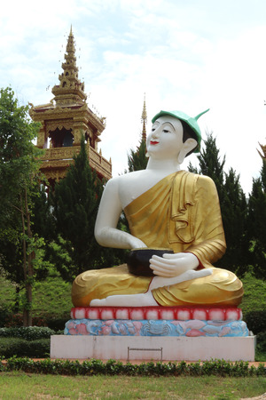 buddha image: This large sculpture is the image of Buddha name Phra upakut which have lotus leaf on the head.