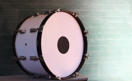 bass drum: old bass drum on the table use in the classroom.