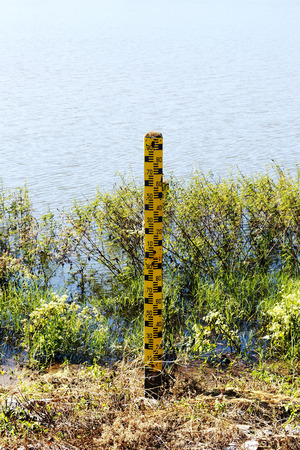 depth measurement: old water gauge near the lake.
