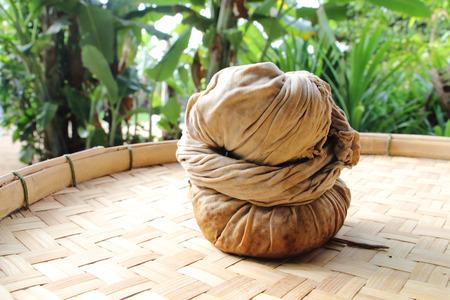 tea filter: Fabric filter the tea leaves on threshing basket . Stock Photo