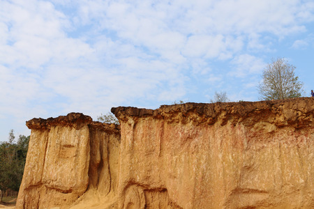 flat earth: The soil, clay hill, and cliffs at national park Phae Mueang Phi ,Phrae,Thailand.