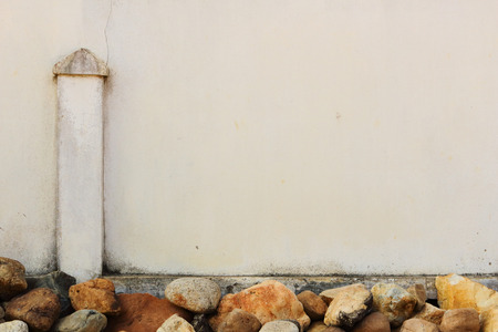 decorate: Concrete fence decorate by large stone